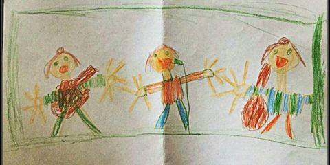 """""""Hat unsere Tochter gemalt, allerdings ohne Bones. Sie möchte beim Autofahren im"""